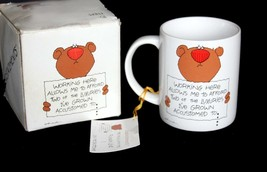 """Understatements Bear Mug """"Working Here Allows Me To Afford Two Of The..."""" Nib - $13.99"""