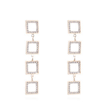 2020 Hot New Exaggerate Geometric Square Rhinestone Long Dangle Earrings... - $10.00