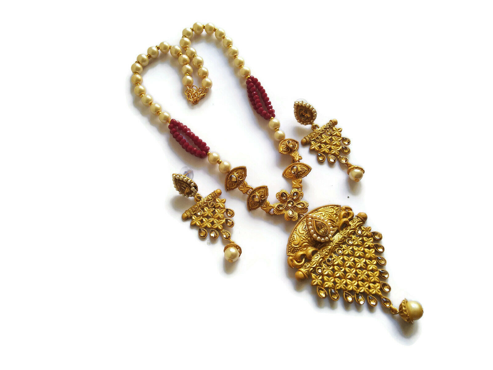 Indian Maroon Pearl Necklace Earrings Set Micro Gold Plated Fashion Jewelry