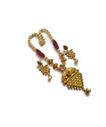 Indian Maroon Pearl Necklace Earrings Set Micro Gold Plated Fashion Jewelry - $18.32