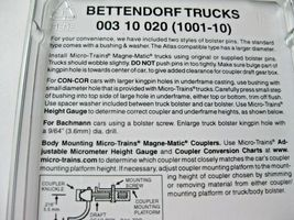 Micro-Trains Stock #00310020 (1001-10) Bettendorf Trucks without Couplers  (N) image 3