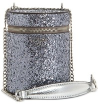 GUESS NWT $68 Ever After Sparkly Silver Metal Cylinder Zip Around Crossb... - $44.55