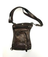 Brown Faux Leather Saddle Leg Bag Satchel Zipper Clasp Pouches Shoulder ... - $43.53