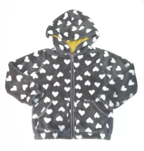 Primary image for Hanna Andersson Girls Grey Marshmallow Fleece Hoodie with Hearts- Sz:6-7 yo