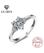 CC Rings For Women 925 Sterling Silver Jewelry Heart-shaped Bridal Weddi... - $12.69