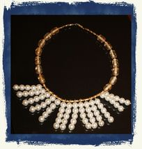 Vintage 80s/90s Handmade Beaded Fringed Choker Necklace Gold Tone/Pearl Finish - $7.89