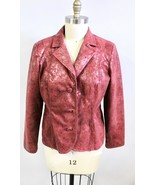 "Bamboo Traders Womens Jacket L Red Silver "" Metallic""  Crackle Finish Un... - $28.79"