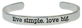 Live Simple Love Big Silver Cuff Bangle Bracelet Jewelry Inspire Stackable - $12.65