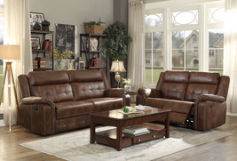 NEW Living Family Room Couch Set - Brown Faux Leather Recliner Sofa Love... - $29.883,16 MXN