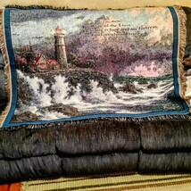 Thomas Kinkade Lighthouse Throw Conquering the Storms Bible Verse Wall T... - $37.61