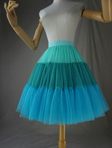 Women Knee Length Puffy Tulle Skirt Mint Green Blue Layered Tulle Skirt A-Line image 5