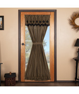 Black Star Door Panel Curtain with Attached Scalloped Layered Valance 7... - $68.50
