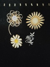 VINTAGE  ESTATE LOT OF  SIGNED FLOWER BROOCHES WEISS, KREMENTZ AND MORE - $19.79