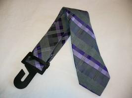 George Men's Neck Tie Classic Plaid Purple Gray Dress Tie New - $10.19