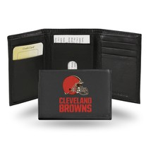 Cleveland Browns Wallet Embroidered Trifold Official NFL RICO Leather Black - $33.45