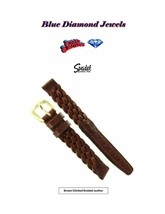 12mm Speidel Women's Medium Brown Stitched Braided Genuine Leather 34643... - $12.95
