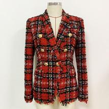 High Quality Red Plaid Slim Fit Blazer & High Waist Double Breasted Shorts Suit image 7