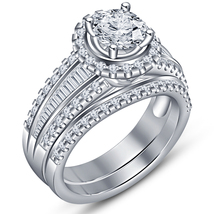 White Gold Plated 925 Sterling Silver Round Cut Diamond Bridal Wedding Ring Set - $105.99