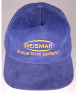 Vtg GEISMAR Hat-Modern Track Machinery-Blue Corduroy-Snapback-Embroidere... - $28.04