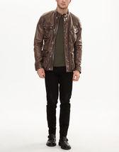 Men Caramel Brown Leather Jacket Coat For Men - $170.00