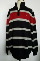 Tommy Hilfiger Boys Sweater Striped Black Red Gray Size XL /20/ NWT - $37.99