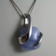 925 STERLING SILVER NECKLACE 17,72 In, BLUE AGATE PENDANT, VENETIAN MESH image 2