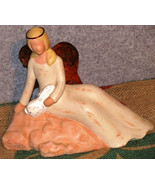 Ceramic Angel Figurine and Metal Wings with a Rabbit on Lap - Handmade - $34.99