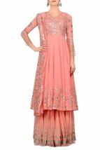ReadytoWear Pink Gota Patti Bspoke Pure Handmade Sharara Salwar Kameez S... - $276.38