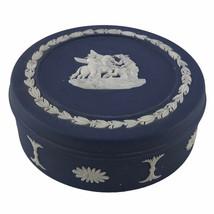 Vintage Wedgwood Jasperware Dark Blue Round Trinket Box Neoclassical England U34 - $25.07