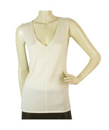 Yves Saint Laurent Cream Off White Silk Cashmere Sleeveless knit blouse ... - $193.05