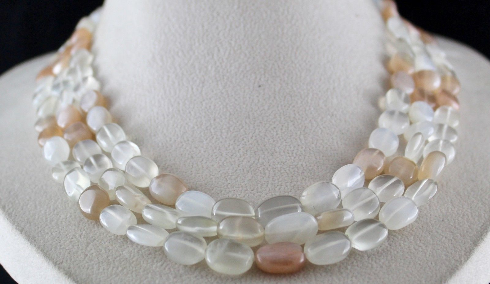 3 LINE MULTI COLOUR MOONSTONE LONG GEMSTONE BEADS NECKLACE