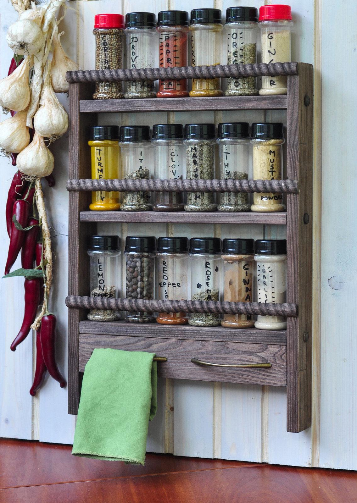 Wooden Spice Rack Wall Mount & Towel Holders - Oak Style finish, Rustic Rope Sty