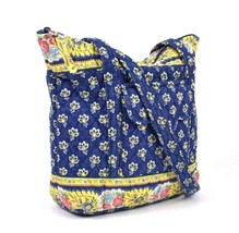 Vtg 90s Vera Bradley Shoulder Bag Purse Satchel Blue Floral Quilted Cott... - $19.79
