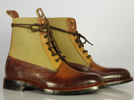 Bespoke Brown and Tan Ankle Leather Boots For Men's - $159.97 - $179.97