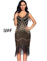 Flapper Girl Women's Vintage 1920s Sequin Beaded Tassels Hem Flapper Dress - $85.99+