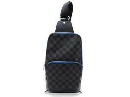 73 Auth Louis Vuitton Avenue sling bag body bag Damier Gras fit blue N40008 - $1,716.97