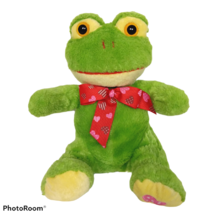 """Best Made Toys Valentine Hearts Bow Green Frog Plush Stuffed Animal 2012 8"""" - $19.80"""