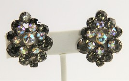 VINTAGE Jewelry D&E JULIANA BLACK DIAMOND RHINESTONE FLOWER SPRAY EARRINGS - $25.00