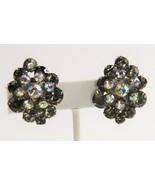VINTAGE Jewelry D&E JULIANA BLACK DIAMOND RHINESTONE FLOWER SPRAY EARRINGS - $25.00