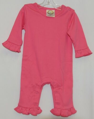Blanks Boutique Pink Long Sleeve Snap Up Ruffle Romper Size 6M