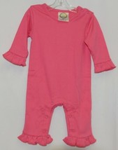 Blanks Boutique Pink Long Sleeve Snap Up Ruffle Romper Size 6M image 1