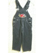 Disney Toddler Boy Size 4T Bib Overalls Mickey Mouse Pluto Black Denim C... - $21.77