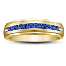 Women's Wedding Band Ring Round Cut Blue Sapphire Yellow Gold Plated 925... - $74.88