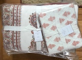 Pottery Barn Deya Quilt Ivory Red Queen Bhotah Block Print New No Sham - $199.00