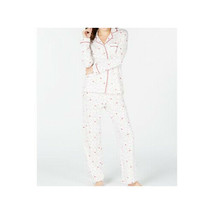 Charter Club Womens Pajama Set Size PM White Red Cardinal Print Flannel - $36.62