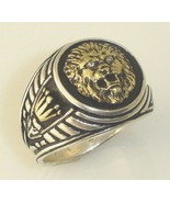 14 Karat Gold  Roman styled  lion Crown signet silver ring - $375.21