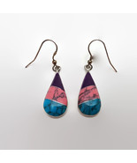Vintage Alia Mexico Inlaid Pink Purple & Blue Stone Earrings Sterling Ea... - $17.82