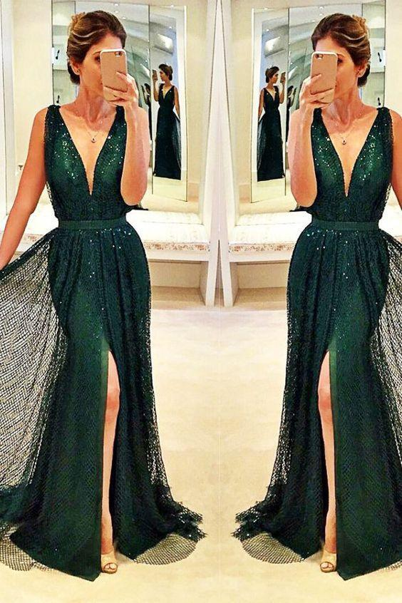 dark green prom dress, long prom dress, v-neck prom dress, 2018 evening dresses