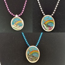 Handmade Alpaca Rainbow Mountain Scene Pendant Chain & Necklace Blue Sil... - $14.50