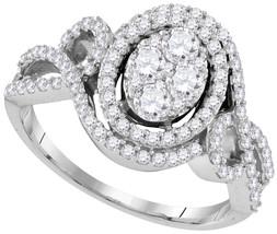 10k White Gold Round Diamond Cluster Bridal Wedding Engagement Ring 1-1/... - $1,619.00